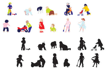 playing kids, collage style drawing    Vector
