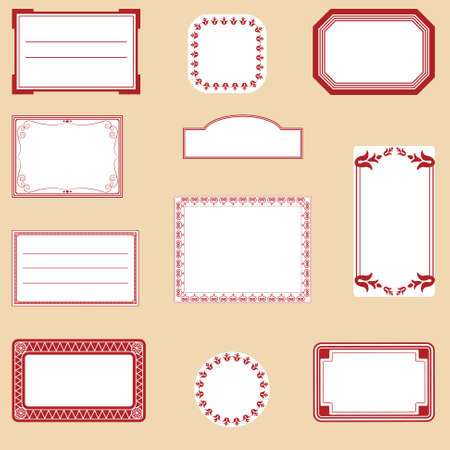 A set of different labels in red and white Vector