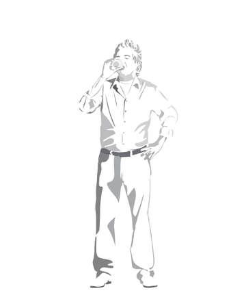 drunkard: man having drink Illustration