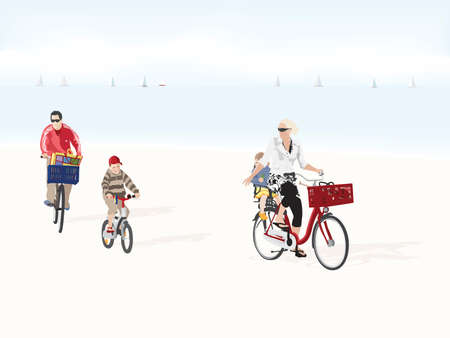 family bicycle trip Vector