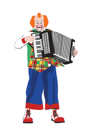 accordion: clown singing and playing accordion Illustration