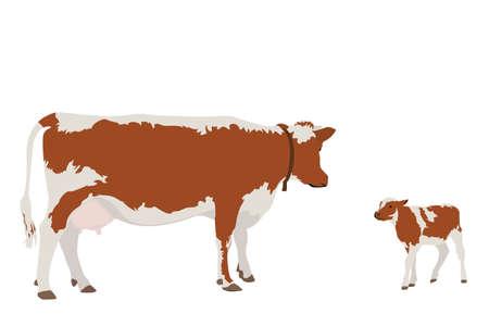 vaca y su becerro Ilustración de vector