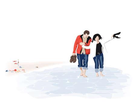 seacoast: couple paddling