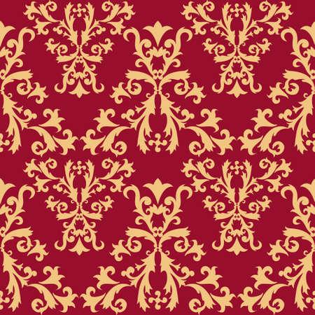 crimson: Seamless Golden Pattern on Crimson Background