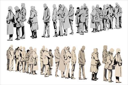file d attente: en attente de personnes, deux versions de couleur Illustration