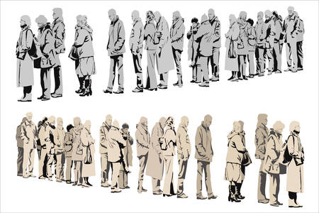 waiting in line: waiting people,  two color versions
