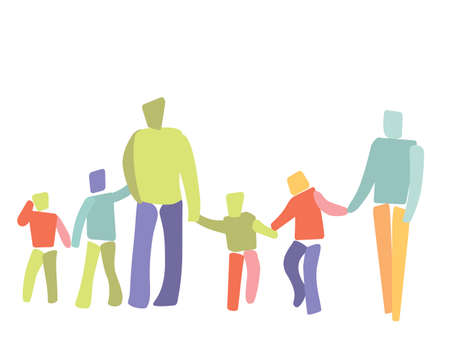 good mood: abstract illustration of large family in a good mood