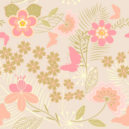 Seamless Floral Pattern with Butterflies Stock Vector - 6757833