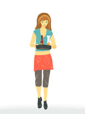 Waitress Serving Drinks Vector