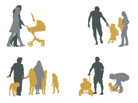 four young families Vector