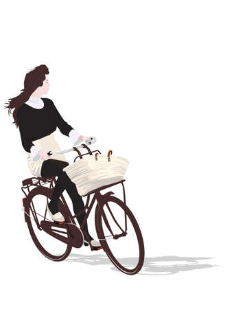 velo: illustration of romantic girl riding bicycle  Illustration