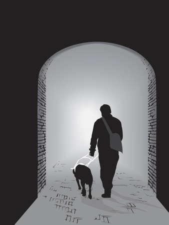 dog on leash: una luz en la oscuridad Vectores