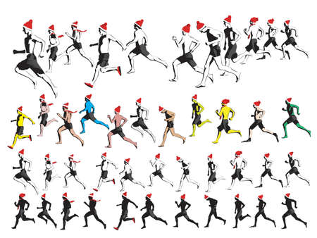new year runners collection, easy to edit Vector