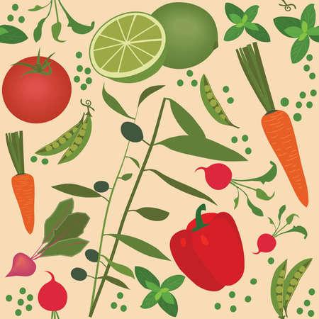 basil herb: Seamless vegetable pattern