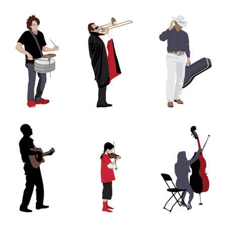 músicos con sus instrumentos Ilustración de vector
