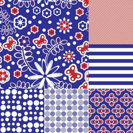 red polka dots: Seis patrones de repetici�n tilable transparentes en azul, rojo y blanco
