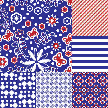 Six seamless tilable repeat patterns in blue, red and white
