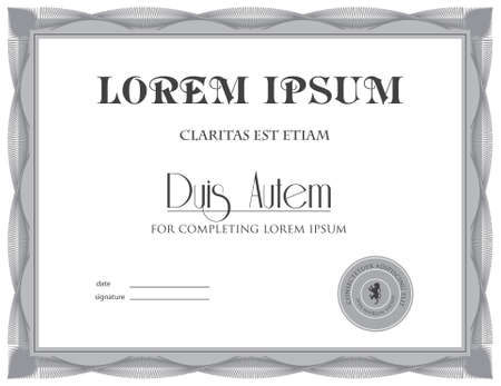 Award Certificate in gray shades Illustration