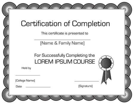 completion: Elegante certificado de finalizaci�n de plantilla