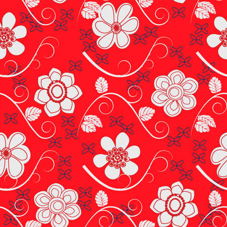 a tablecloth: elegant seamless floral fabric pattern  Illustration
