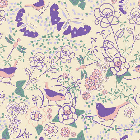 Seamless floral pattern with butterflies and dragonflies Vector