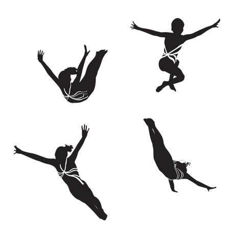 female gymnast: female gymnast silhouettes  Illustration