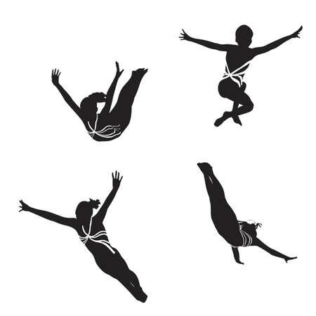 coordinacion: siluetas de gimnasta femenina