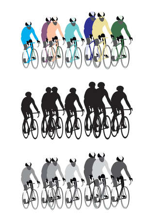 cycling helmet: group of bicycle road racers, easy to edit Illustration