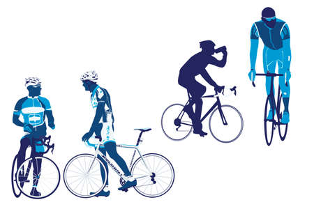bicyclists: bicycle road racers collection Illustration