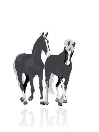 horse hoof: two running horses