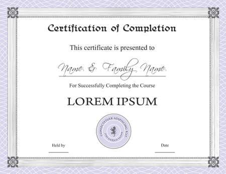 completion: Certificado de finalizaci�n de plantilla  Vectores