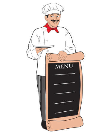 cocinero italiano: Lista del men� de holding de chef  Vectores