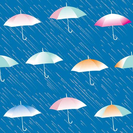 Rain And Umbrellas - Seamless Pattern Stock Vector - 7426204