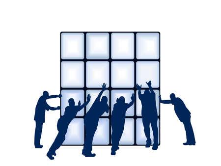 group of objects: mensen duwen object; vierkant op een aparte laag