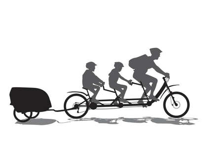 father with his kids on cycling tour Vector