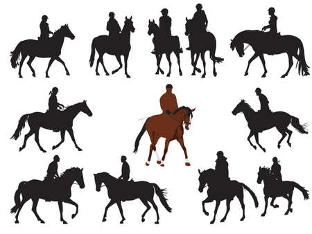 equestrian sport: collection of horseback rider silhouettes