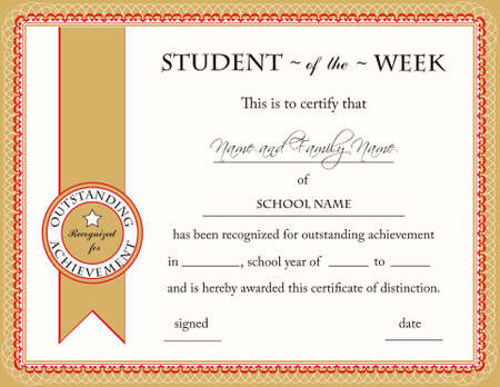 diploma border: Student of the Week Certificate