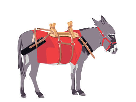 donkey wearing a packing harness Vector