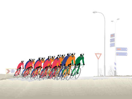 road bicycle racing Illustration