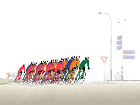 weg wiel rennen  Vector Illustratie