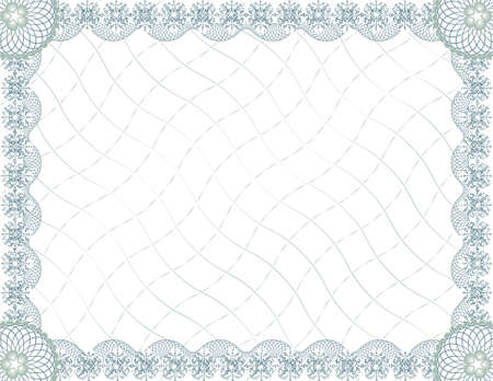 stationary border: blank guilloche certificate template Illustration