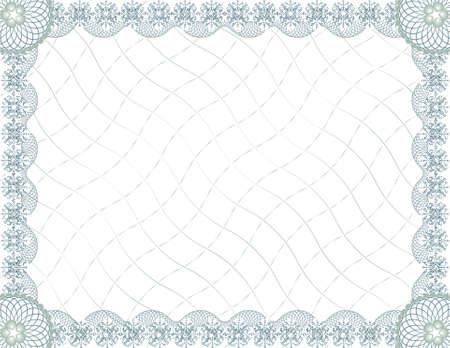 zertifizierung: leere Guilloche-Zertifikatvorlage