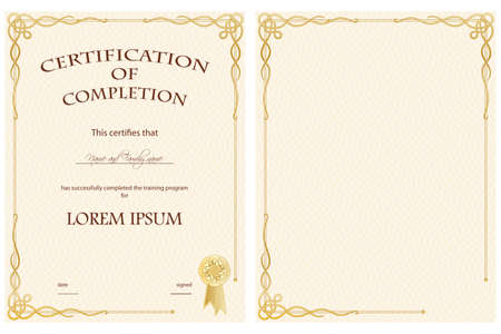 Vertical Certificate of Completion Template
