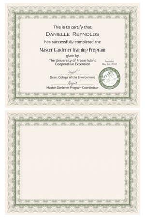 Master-Gärtner Zertifikatvorlage Vektorgrafik