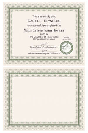 Master Gardener Certificate Template