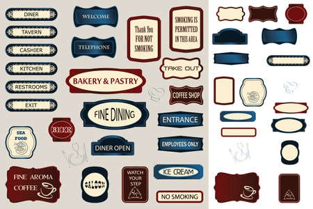 hospitality: Hospitality Signs, blank for your content or with sample text  Illustration