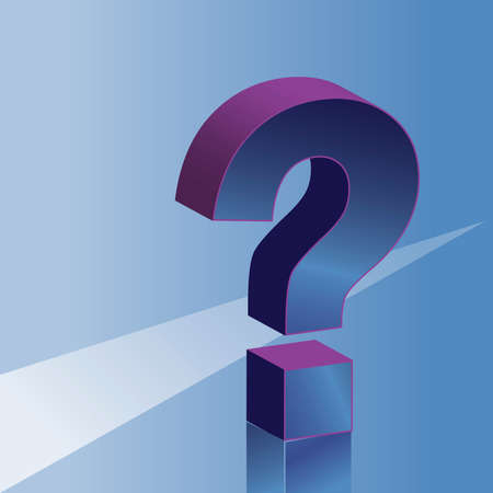 3D question mark, blue background Vector