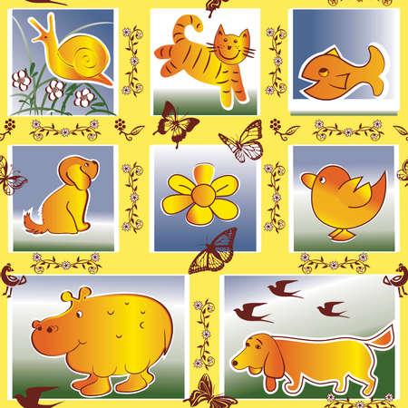 seamless kids pattern with cartoon animals Vector
