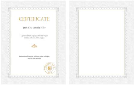 completion: Plantilla de certificado vertical, en blanco o con texto de ejemplo - de prop�sito general