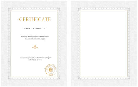 credential: Vertical certificate template,blank or with sample text - general purpose